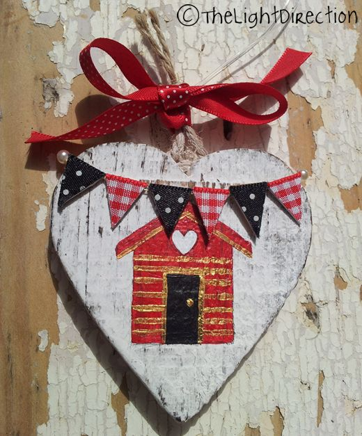 white wooden heart seaside theme gifts hand made hand decorated beach hut theme gifts uk