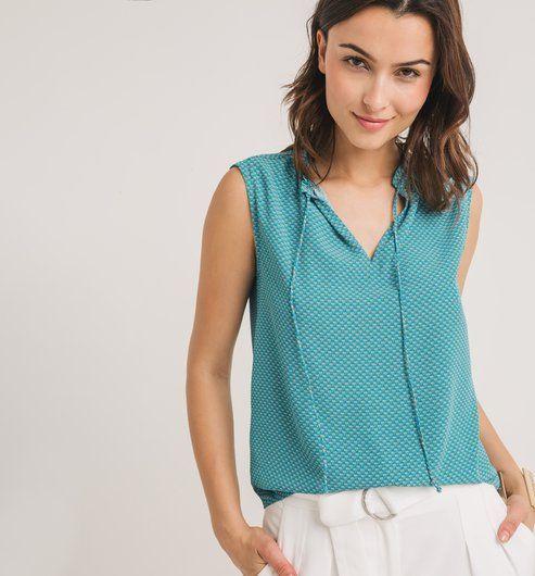 Ujjatlan női blúz smaragdzöld mintás - Promod