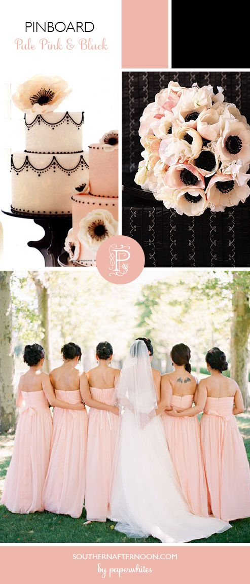 Black and pale pink--sophisticated, graphic, awesome.  Love the anemones & the bridesmaid dresses