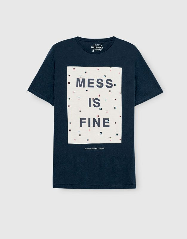 Pull&Bear - man - clothing - t-shirts - t-shirt with an all-over print - navy - 09244512-I2016