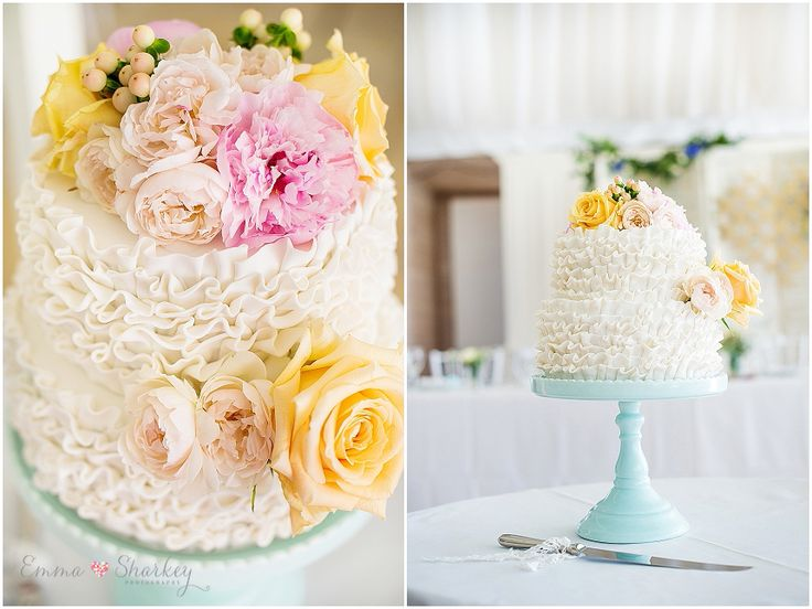 Megan and Tim's Kingsbrook Estate Wedding by Emma Sharkey Photography I adore this gorgeous tiered ruffled wedding cake. Created by A Little Touch of Sweet. Lovely pastel pink and yellow flowers by Blooming bridal. love love love  Venue Kingsbrook Estate Currency Creek