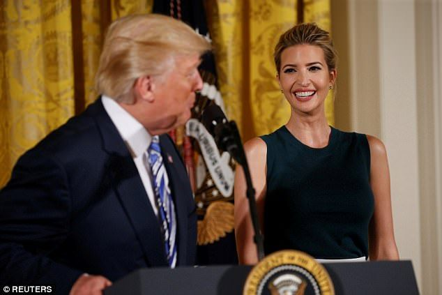 Glowing: Ivanka Trump was all smiles as she watched her father, President Donald Trump, sp...