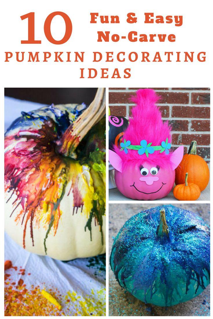 10 fun & easy no-carve pumpkin decorating ideas for Halloween  #October #Halloween #JackOLantern #craft #Autum