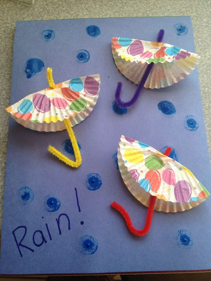 DIY Rainy Day Paper Umbrellas from My Kids Guide.  Perfect class project!