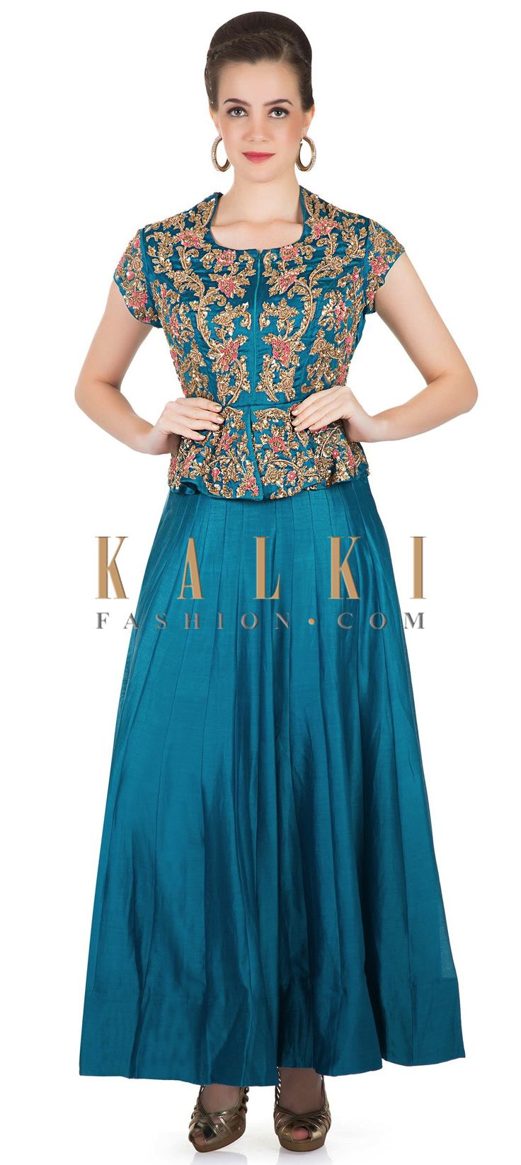 Teal Blue Cotton Silk Ethnic Gown with Zardosi Embroidery Only on Kalki only on Kalki