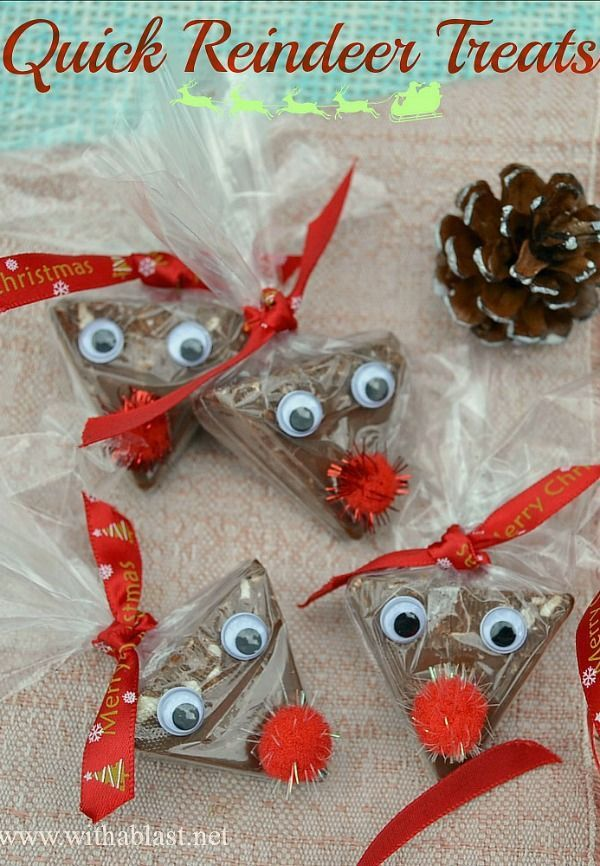 Took me less than 3 minutes to make one of these cute Christmas Reindeer Treats - perfect for classmates, stocking fillers idea etc