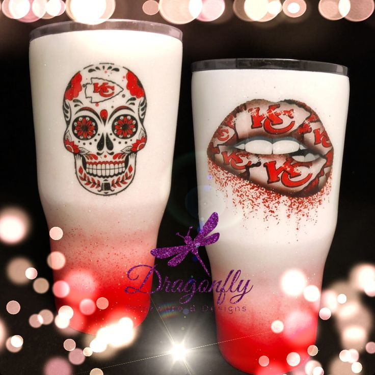 Kansas City Chiefs Lips And Sugar Skull Stainless Steel