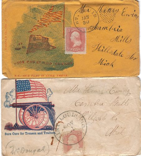 Letters from a Civil War soldier, home - I'm not sure if the 'covers' as they were called were army issue, but I've now seen quite a few from soldiers to home that look like this.