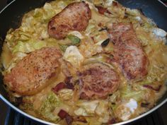 Low Carb Pork Chops with Creamy Cabbage