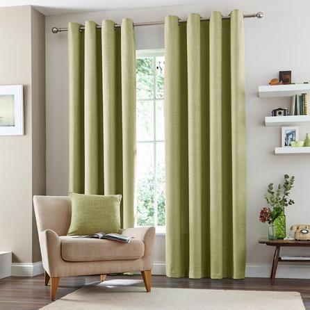 Dunelm Vermont Green Polyester Eyelet Curtains (W 117cm (46'') x Drop 182cm (72''))