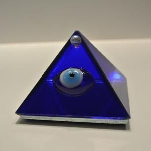 glass pyramid with evil eye cobalt blue