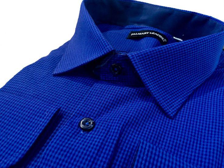 Купить Мужская рубашка прямого кроя в клетку синего цвета в интернет магазине мужской одежды OTOKODESIGN