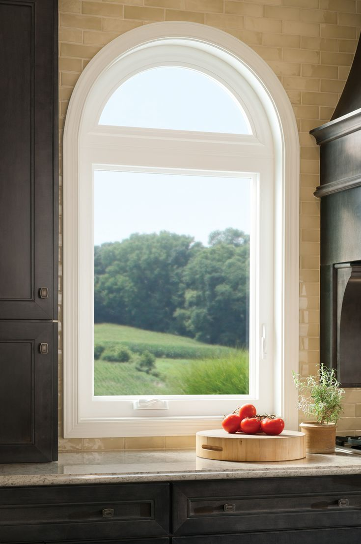 Vinyl Arched Window : Casement window with radius top tuscany series vinyl