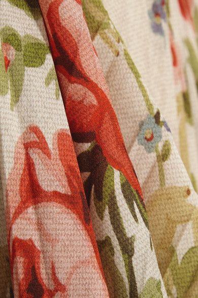 Gucci for NET-A-PORTER - Pleated Floral-print Silk Midi Skirt - Ecru - IT