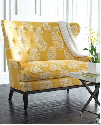 Paisley Settee - tufting & a bright shade of yellow make this settee a stand-out from Horchow ($ 1,500+ shipping)
