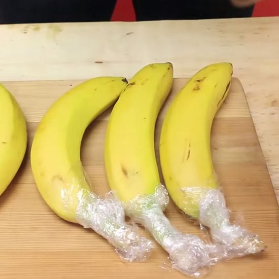 Are your bananas always turning brown before you have a chance to eat them? This simple hack will keep your bananas fresh longer. The secret tool needed? Plastic wrap! Individually wrap the tip of each banana with plastic wrap to make sure it stays fresh