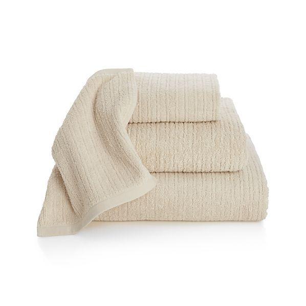 Ribbed Cream Bath Towels | Crate and Barrel