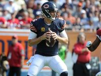 Chicago Bears quarterback Jay Cutler is out for the remainder of Sunday's game against the Arizona Cardinals with a hamstring injury.