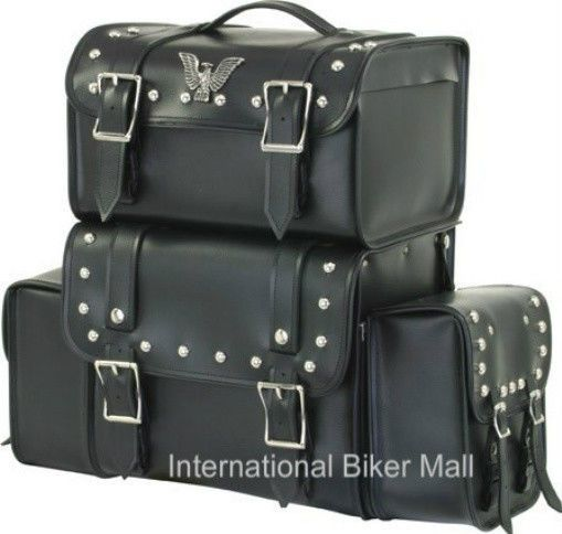 Motorcycle Sissy Bar Bag With Removable Side Bags #DealerLeather