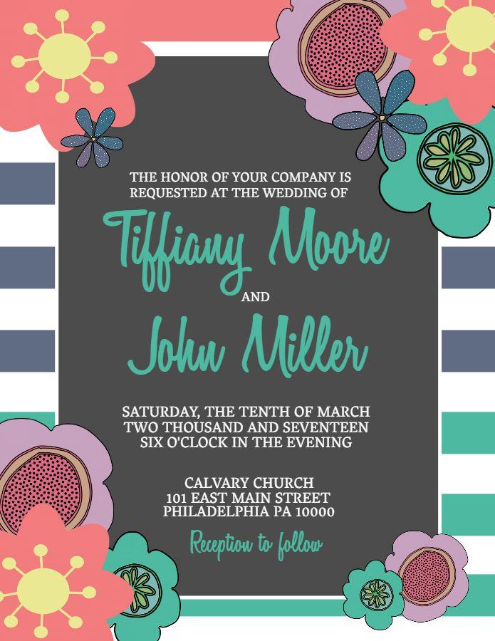 Wedding Invitation Poster Flyer Social Media Graphic Design Template Wedding Invitation Posters Party Invite Template Wedding Invitations