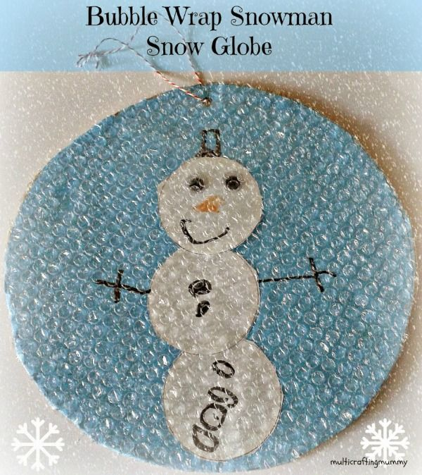 Our bubble wrap snow globe snowman would be a great new addition to your Christmas Tree.