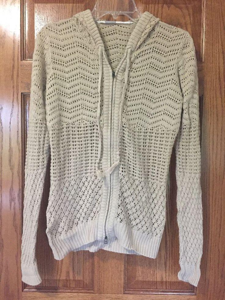 ATHLETA Crochet Shoreline Hoodie Zip Knit Sweater Swimsuit Cover Up Women Medium #Athleta #Hooded