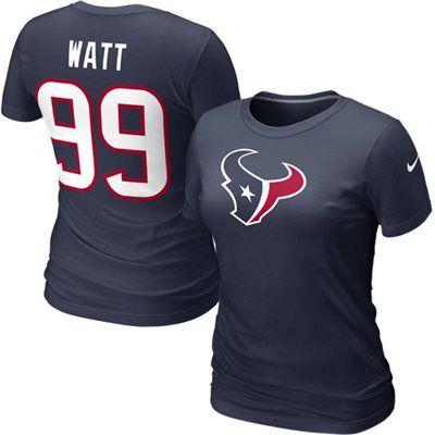 Nike J.J. Watt Houston Texans Womens Name & Number T-Shirt - Navy Blue