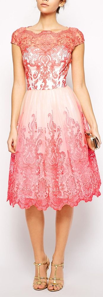 coral embroidered bardot midi dress