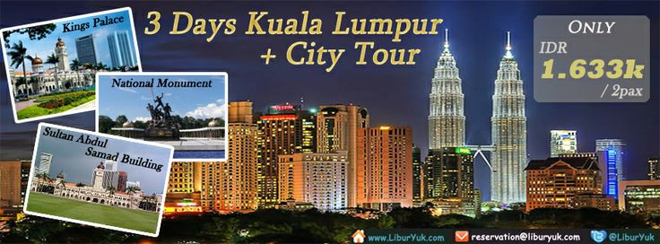 Masih bingung dengan acara liburan Anda? Kini tersedia paket liburan ke Malaysia lho. Dengan paket 3 Hari #Kuala #Lumpur + #City #Tour anda akan diajak mengelilingi dan mengunjungi tempat-tempat wisata di Kuala Lumpur. Yuk booking paketnya sekarang juga sebelum kehabisan!  Dapatkan Spesial Paket tersebut dari LiburYuk http://liburyuk.com/promotional-package/book/631210794/3D2N-Kuala-Lumpur-+-City-Tour #jalan2 #holiday #abbeytravel #malaysia