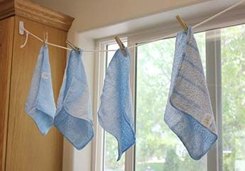 {homemade reusable dryer sheets}    Thoroughly soak 4 dish rags with Liquid Fabric Softener. Let the towels dry completely! Now you have 4 dryer sheets that you will be able to use at least a dozen times each before re-dipping them. Clothes are VERY soft and VERY nice smelling. :-) But MORE importantly NO STATIC CLING!