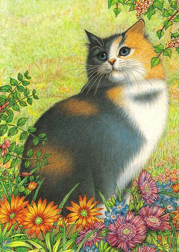 Cat art HANDMADE postcard - available (by paflip25)