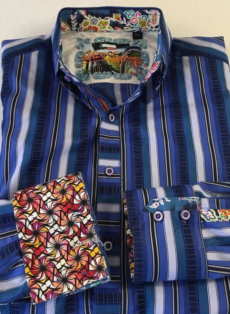 Robert Graham Men's Long Sleeve Button Down Shirt Size Medium Flip Cuff Stripe  #RobertGraham #ButtonFront