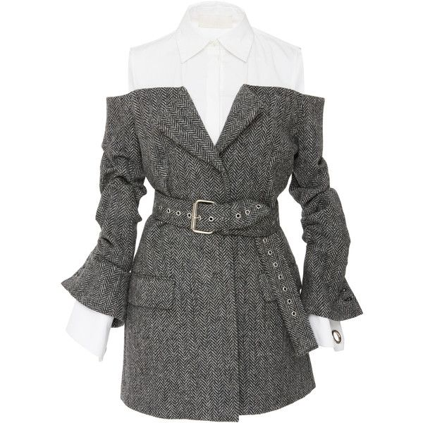 MONSE Belted Herringbone Jacket ($2,490) ❤ liked on Polyvore featuring outerwear, jackets, dresses, coats, monse, grey, herringbone jacket, grey jacket, gray jacket and grey herringbone jacket
