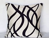 Womens Gift Idea, Black Cream Throw Pillows, Abstract Cushion Cover, White Black Cushion Covers, Spring Decor,