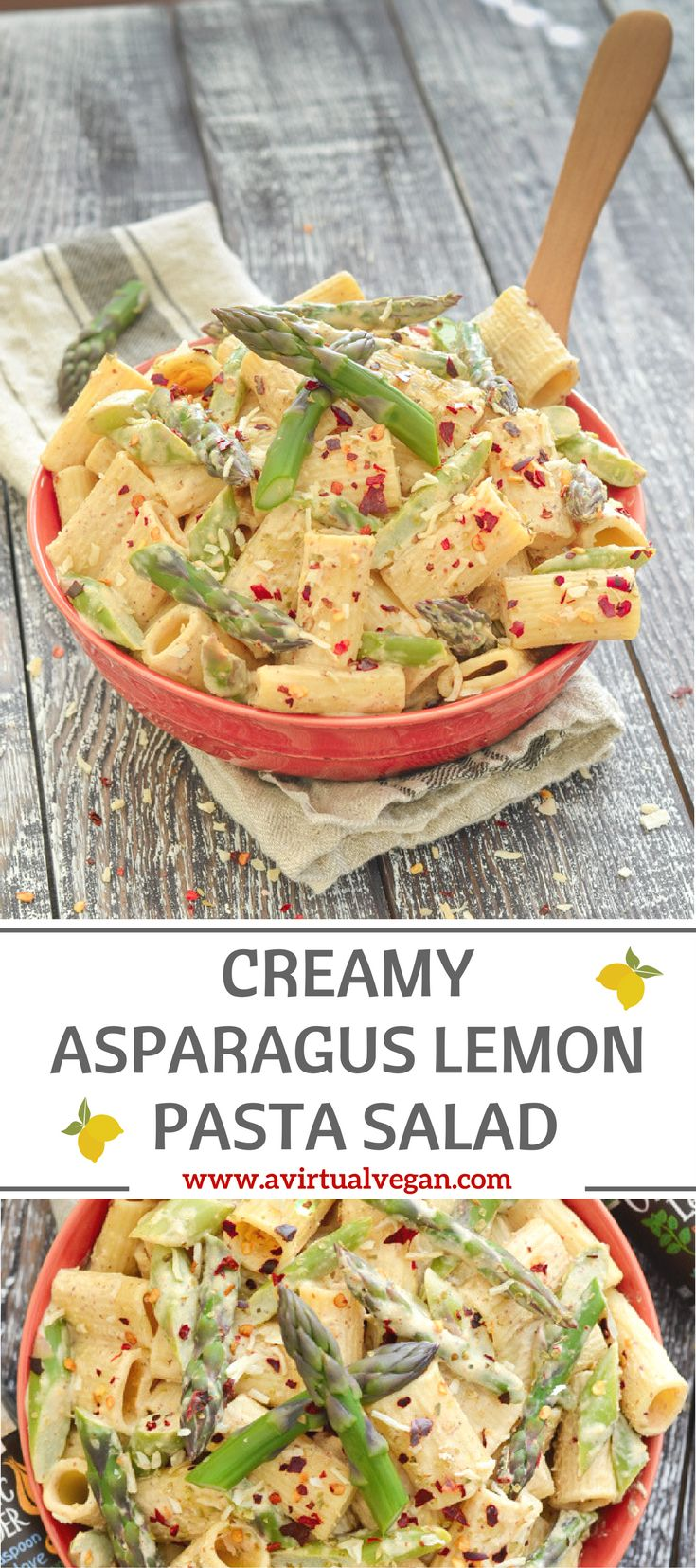 This Creamy Asparagus Lemon Pasta Salad is fresh & delicious, super easy to make, and perfect for quick mid week meals, make ahead lunches and gatherings! via @avirtualvegan #ad #SpiceUpSummer #CookWithPurpose