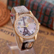 Primavera 2016 Del Envío Nueva Torre Eiffel de París de La Vendimia de Las Mujeres Reloj de Cuarzo de Las Mujeres Señoras de Las Muchachas Estudiantes Reloj Casual Relojes(China (Mainland))
