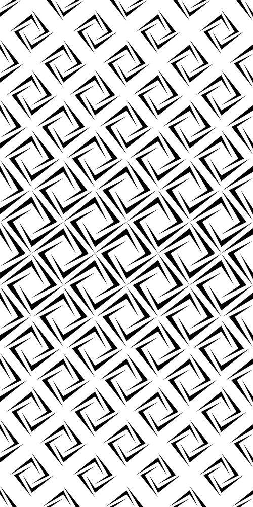 Monochrome repeating rectangular spiral pattern