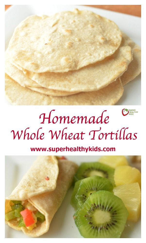 Homemade Whole Wheat Tortillas. If you haven't made homemade tortillas with your kids yet, it's a must do kitchen activity for the summer! Making your own is not only cheaper and healthier, but it teaches kids good kitchen skills! www.superhealthykids.com/homemade-whole-wheat-tortillas-with-holiday-breakfast-burrito