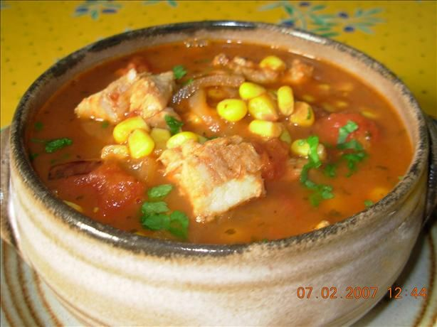 Easy Fish Stew. -(use stock instead of water though, and let cook for a little longer than indicated).