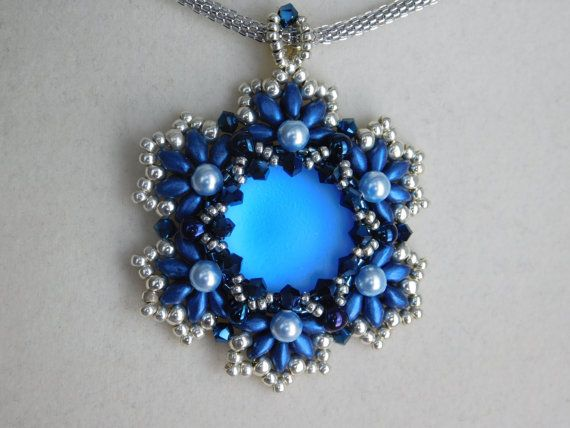 Beaded Pendant Pattern, Beading Tutorial, Jewelry, 18mm Lunasoft Cabochon, Superduo, Swarovski Bicone, Pearl, Seed Bead,…