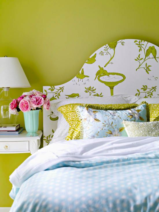 Make your own unique headboard with pretty patterned wallpaper. Get instructions here: http://www.bhg.com/rooms/bedroom/headboard/cheap-chic-headboard-projects/?socsrc=bhgpin070212#page=11