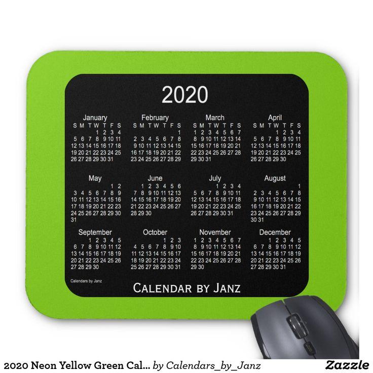 2020 Neon Yellow Green Calendar by Janz Mousepad