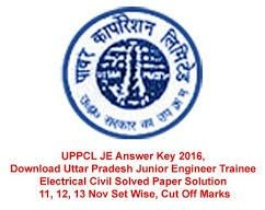 UPPCL JE Answer Key 2016 Download UPPCL AE, Tech, TRANSCO Assistant Engineer Exam Key UPPCL JE AE Key Sheet 2016 UPPCL JE answer key 2016 download