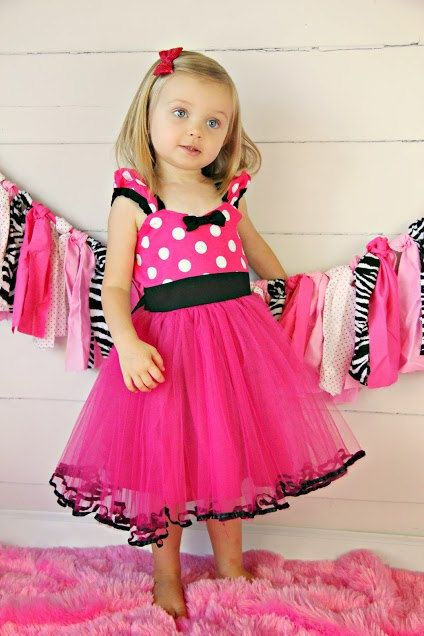MINNIE MOUSE dress TUTU  Party Dress  in Hot pink Polka Dots super twirly  dress 1st Birthday party on Etsy, $58.00