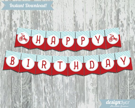 Roll on over, its a classic red tricycle birthday party! This fun, stylish DIY classic red tricycle themed printable banner is perfect!