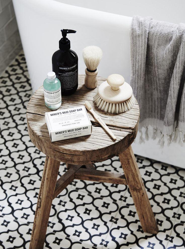 Rustic Timber Stool | via bloomandco.com.au #bathroom