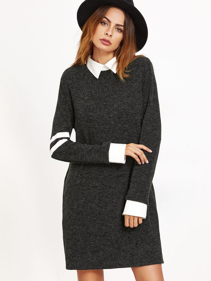 Shop Black Contrast Collar And Cuff Striped Sleeve Dress online. SheIn offers Black Contrast Collar And Cuff Striped Sleeve Dress & more to fit your fashionable needs.