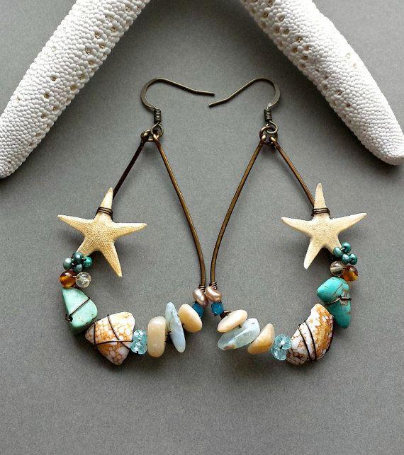 Real Starfish Hoop Earrings Hawaiian Shell by BellaAnelaJewelry