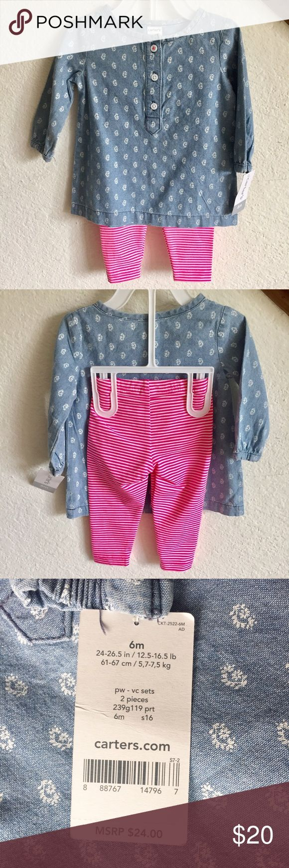 Carter's Outfit Chambray shirt and pink striped leggings. Size - 6 months. No trades or PayPal. Carter's Matching Sets
