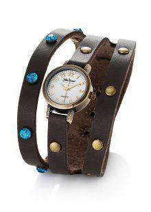 Dreireihige Armbanduhr mit Strass-Steinen, John Baner JEANSWEAR